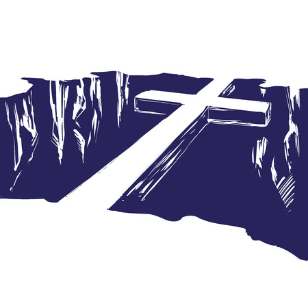 Illustration for Christian wooden cross lying over the chasm, uniting us with God. Symbol of Christianity in hand drawn vector illustration sketch - Royalty Free Image