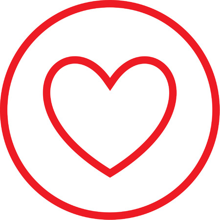 Vector heart icon. Red and white. Simply change.