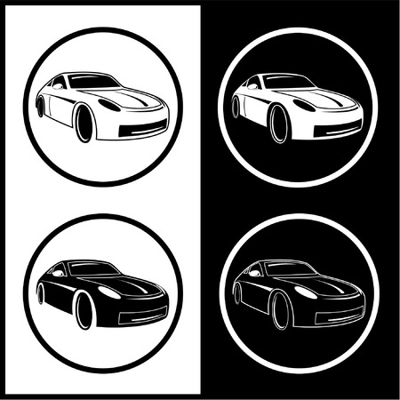Vector car icons. Black and white. Simply change.