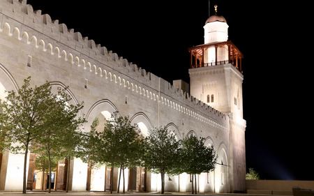 King Hussein Bin Talal mosque in Amman (at night) Jordan  mural