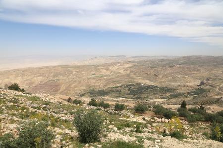 desert mountain landscape (aerial view from Mount Nebo), Jordan, Middle East