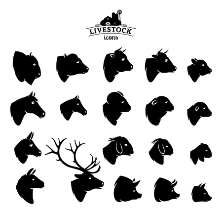 Ilustración de Vector livestock icons isolated on white. - Imagen libre de derechos