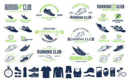 Ilustración de Set of vector running logo, labels and icons for sport organizations, tournaments and marathons. - Imagen libre de derechos