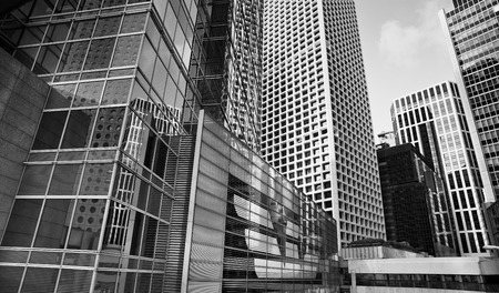 Photo for City modern architecture in perspective, tall buildings in black and white - Royalty Free Image