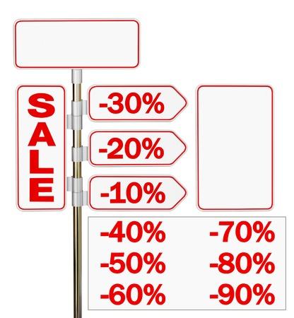 Foto de The signpost sale and percent discount on a white background - Imagen libre de derechos