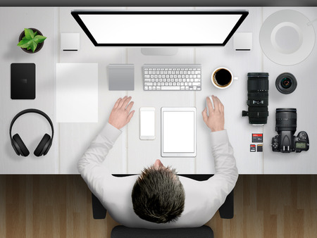 Photo for photographer and desk mockup scene with devices from top - Royalty Free Image