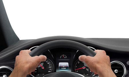 Photo for Driving hands steering wheel background isolated - Royalty Free Image