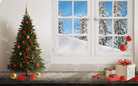 Foto de Christmas scene with tree and decorations, lights, ornaments, balls, gifts. Wall and window in background. - Imagen libre de derechos