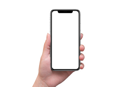Foto de Modern smart phone with x curved screen in woman hand isolated. Blank screen for mockup. - Imagen libre de derechos
