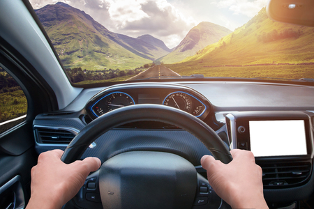 Photo pour Car navigation display mockup. View from the driver's angle. Modern car interior. - image libre de droit
