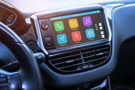 Foto de Car infotainment board display with apps. Modern car interior. - Imagen libre de derechos