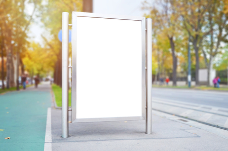 Photo pour City billboard with isolated surface for mockup, design presentation. - image libre de droit