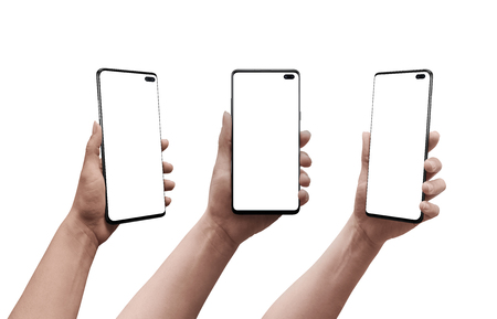 Foto de Smart phone in woman hand in three positions. Isolated display and background. Mockup. - Imagen libre de derechos