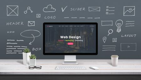 Photo pour Web design concept with computer display, web theme and drawings of website, app parts. Modern design web page on computer display. Office, studio work desk. - image libre de droit