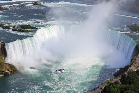 Photo for Horseshoe Falls in Niagara and Maid of the Mist boat, aerial view - Royalty Free Image