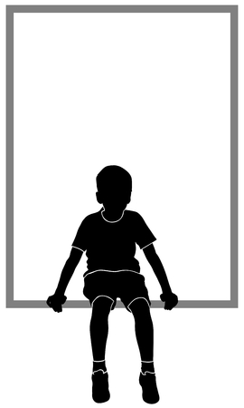 isolated silhouette of sitting boy