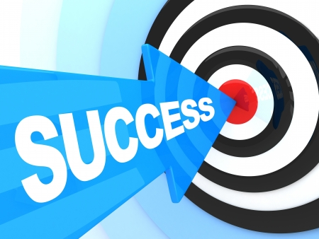 Photo for Abstract success. Blue arrow in target (done in 3d) - Royalty Free Image
