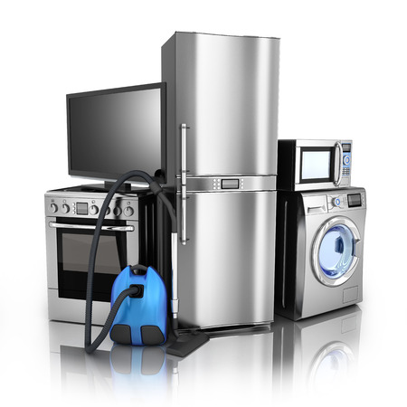 Photo pour Consumer electronics.TV,Fridge,vacuum cleaner,microwave,washer and electric-cooker - image libre de droit