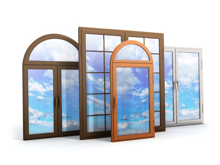Photo pour window with reflections of the sky (done in 3d) - image libre de droit