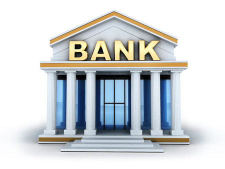 Photo pour Building and sign bank (done in 3d)  - image libre de droit