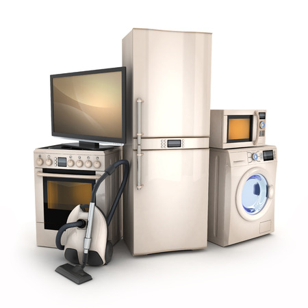 Foto de Consumer electronics.TV,Fridge,vacuum cleaner,microwave,washer and electric-cooker - Imagen libre de derechos