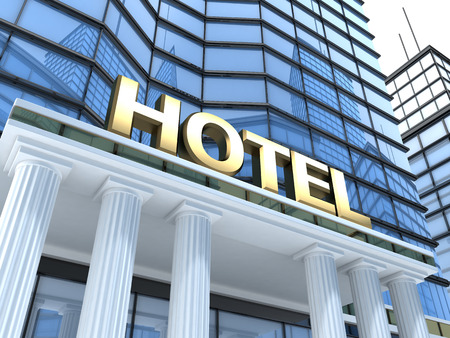 Photo for A large building with the inscription hotel (done in 3d) - Royalty Free Image