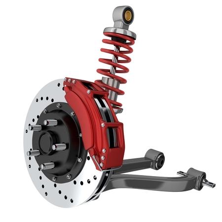 Foto de Car suspension and brake disk (done in 3d, isolated) - Imagen libre de derechos