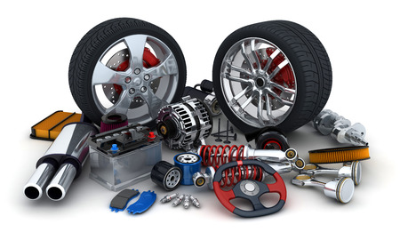 Foto de Many auto parts on white background (done in 3d) - Imagen libre de derechos