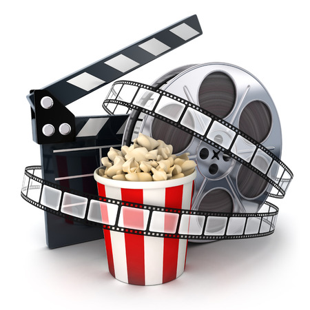 Photo for Film and clipboard symbol (done in 3d) - Royalty Free Image