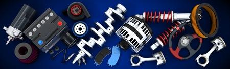 Foto de Many auto parts (done in 3d) - Imagen libre de derechos