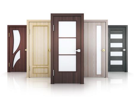 Photo pour Five doors row on white background. 3d illustration. - image libre de droit