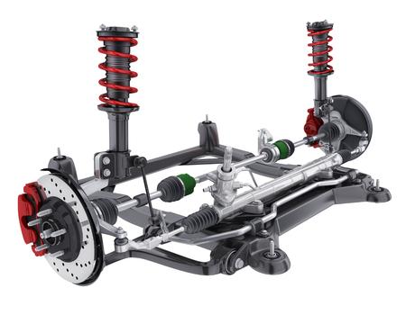 Foto de Car suspension and brake disk and steering. 3d illustration - Imagen libre de derechos