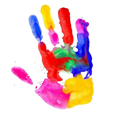 Foto de Close up of colored hand print on white background - Imagen libre de derechos