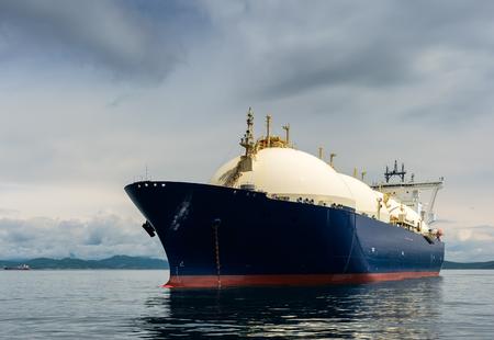 Photo pour LNG-tanker at anchor in the road. - image libre de droit