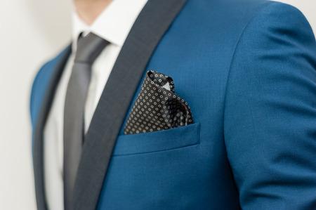 Foto de Close-up shot of a man dressed in formal wear .Groom's suit - Imagen libre de derechos