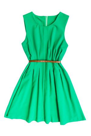 Photo pour Green dress with belt on a white background - image libre de droit