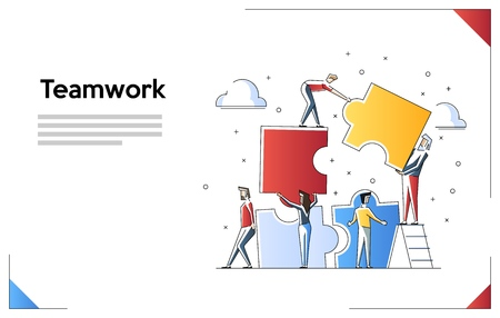 Illustration pour Teamwork concept banner. Can use for web banner, infographics, hero images. Flat line art vector illustration isolated on white background. - image libre de droit