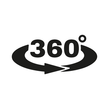 Illustration for The Angle 360 degrees icon. Rotation symbol. Flat Vector illustration - Royalty Free Image