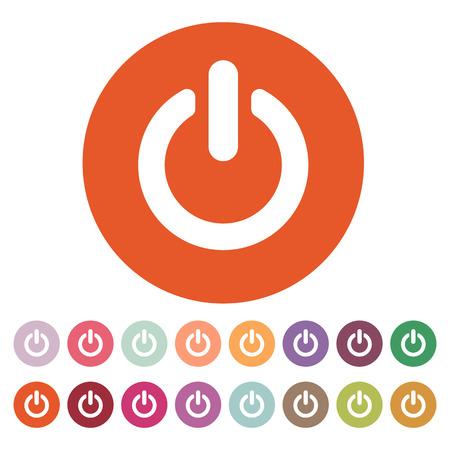 Ilustración de The power icon. Power symbol. Flat Vector illustration. Button Set - Imagen libre de derechos