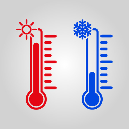 Illustration pour The thermometer icon. High and Low temperature symbol. Flat Vector illustration - image libre de droit