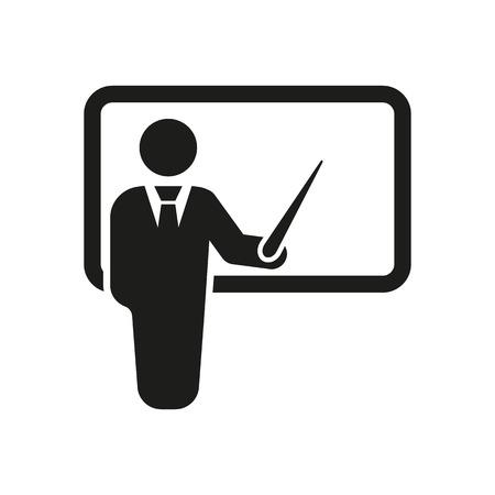 Illustration pour The teacher icon. Training and presentation, seminar, learning symbol. Flat Vector illustration - image libre de droit