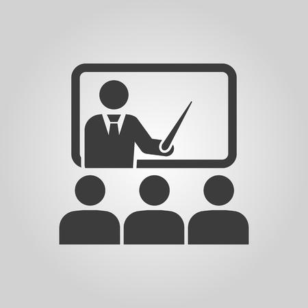 Illustration pour The training icon. Teacher and learner, classroom, presentation, conference, lesson, seminar, education symbol Flat Vector illustration - image libre de droit