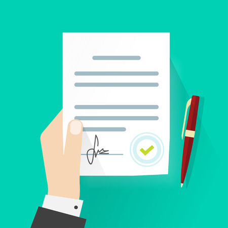Illustration for Business man hand holding contract agreement vector illustration, signed treaty paper with pen, legal document symbol with stamp, documentation flat sign modern design isolated on green background - Royalty Free Image