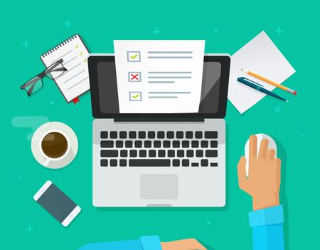 Illustration pour Online form survey on laptop vector illustration, person working on computer showing quiz exam paper sheet document. - image libre de droit