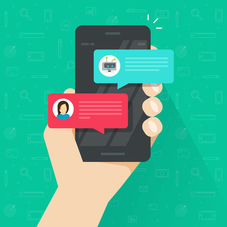 Ilustración de Person chatting with chatbot in mobile phone vector illustration, flat cartoon smartphone with chat bot discussion, cellphone messenger with chatbot service, communication technology - Imagen libre de derechos