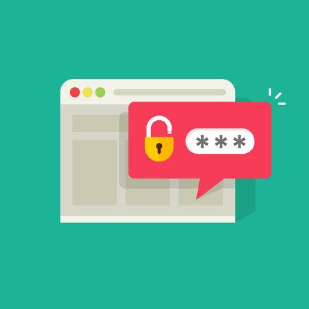 Ilustración de Password notification bubble with open lock in browser widow vector illustration, flat carton style login or signin icon - Imagen libre de derechos