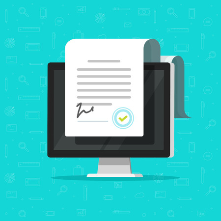 Illustration pour Online electronic documents on computer display vector illustration, flat cartoon paper document and signature on desktop pc screen, concept of digital or internet office, on-line deal, web paperwork - image libre de droit