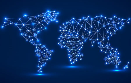 Illustration pour Abstract polygonal world map with glowing dots and lines, network connections. Vector illustration. Eps 10 - image libre de droit