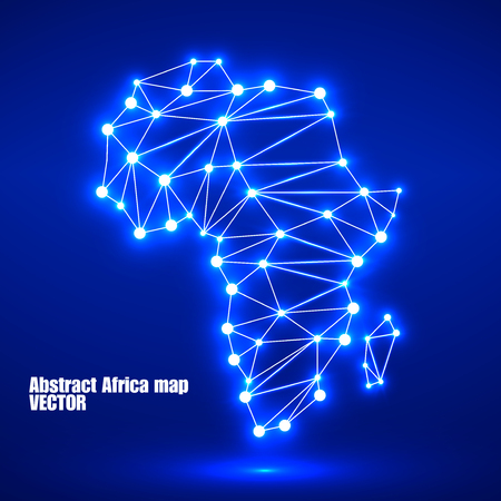 Illustration for Abstract polygonal Africa map with glowing dots and lines, network connections. Vector illustration. Eps 10 - Royalty Free Image