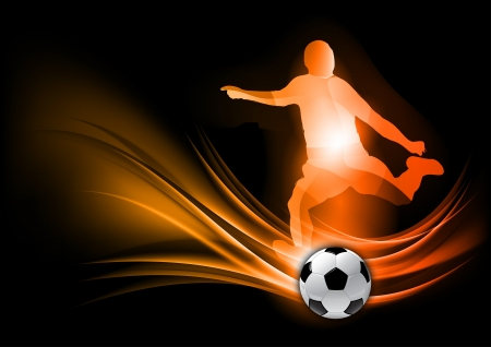 soccer player on the abstract background